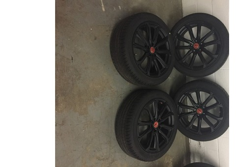 Set of 4 Black Versus Rays Rims Wheels with Hankook Tires $1000